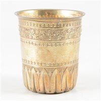 Lot 25-French silver gilt beaker, maker's mark only Philippe Borthier of Paris, 1840's.