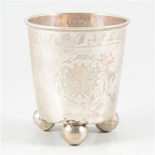 Lot 5-White metal beaker, probably Swedish, probably early 19th century.