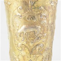 Lot 24-Gilt metal 'steeple' cup and cover, probably central European, in part 18th century.