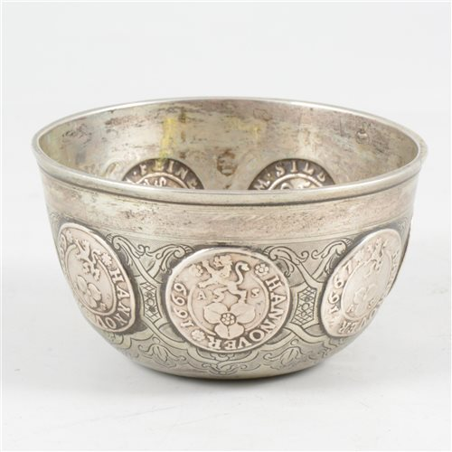 Lot 50-Small white metal coin cup, unmarked, set with Brunswick Mariengrosch. coins, 1667-88.