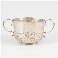 Lot 96-Two handle silver porringer, maker's mark WR over goose, late 17th or early 18th century.