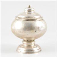 Lot 64-White metal pedestal jar and cover, possibly Persian, probably 19th century.