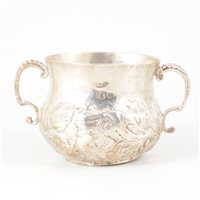 Lot 97-Charles II silver two-handle small porringer, maker's mark RL or KL with pellet under, possibly 1661.