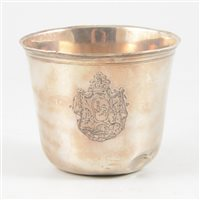 Lot 26-Small French silver beaker, probably Jean Debrie, Paris, 1725-50.
