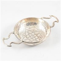 Lot 92-George II silver strainer, maker's mark unclear, London, probably 1742.