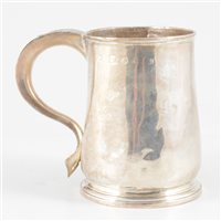Lot 101-George II silver baluster mug, possibly Thomas Coffin, Exeter, 1765.