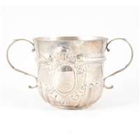 Lot 93-George I Britannia Standard two-handle porringer, William Gamble, London 1718.