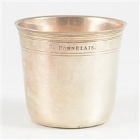 Lot 38-Small French silver beaker, maker's mark CND, Paris, circa 1760.