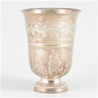 Lot 40-French silver bell-shape pedestal beaker, 18th century.