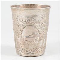 Lot 59-Russian silver beaker, possibly Anders Zaitsev, Moscow, 1746.