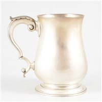 Lot 100-George III silver baluster mug, Francis Crump,  London, probably 1763.