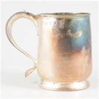 Lot 103-George II silver mug, maker's mark rubbed, London, 1730.