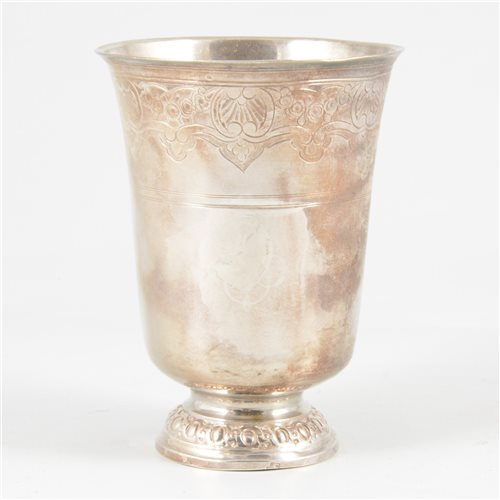 Lot 43-French silver beaker, Henri Nicolas de Brie, Paris, circa 1760.