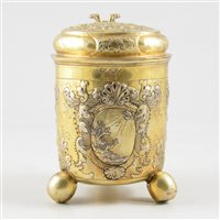 Lot 63-Russian silver gilt lidded tankard, maker's marks SV and Cyrillic MC, Moscow, 18th Century.