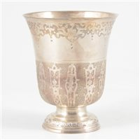 Lot 45-French silver bell-shape pedestal beaker, Pierre Auger, first half 18th century.