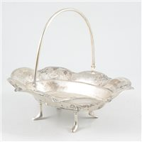 Lot 53-White metal dessert basket, unmarked, probably Eastern European, circa 1840.