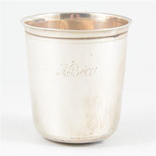 Lot 46-Small French silver beaker, possibly Louis Alexandre Bruneau, Paris 1820's.