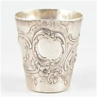 Lot 35-Rococo style white metal beaker, Continental, 19th century.
