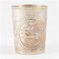 Lot 61-Russian silver beaker, maker's mark B.A, with another indistinct mark, Moscow, circa 1760.
