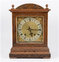 Lot 115-Edwardian oak mantel clock, domed case with...