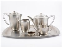 Lot 76-Pressed and cut glass fruit bowls, Old Hall stainless steel tea set, etc.