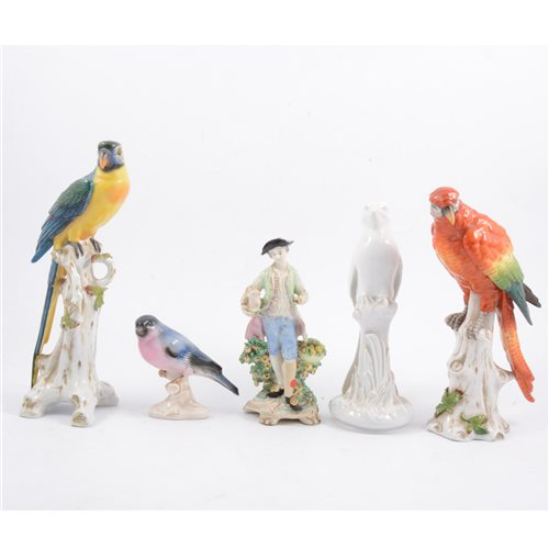 Lot 35 - Two Chelsea style porcelain parrots, together with other bird figures etc (9)