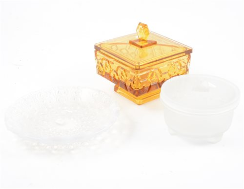 Lot 82-René Lalique, 'Oursins' an opalescent dish (polished rim) and two other glass boxes