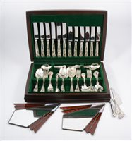 Lot 151-A canteen of Kings Pattern silver-plated cutlery, by George Butler, etc