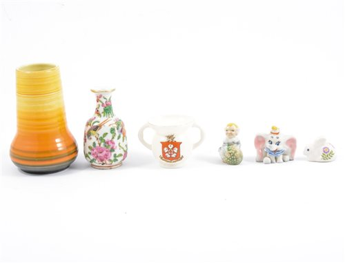Lot 59-A glass water jug and tumblers, decorative china and glassware.