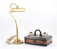 Lot 93-Brass desk lamp