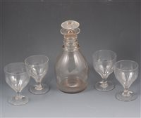 Lot 18-George II conical shape wine glass; wrythen moulded glasses, and rummers (17)