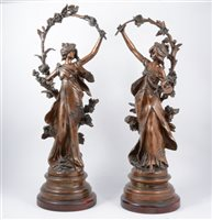 Lot 100-A pair of patinated spelter sculptures after Auguste Morreau, 'Chrysantheme' and 'Marguerite'