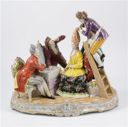 Lot 12-A large Continental porcelain figural group, The Hairdressers, 18th Century style