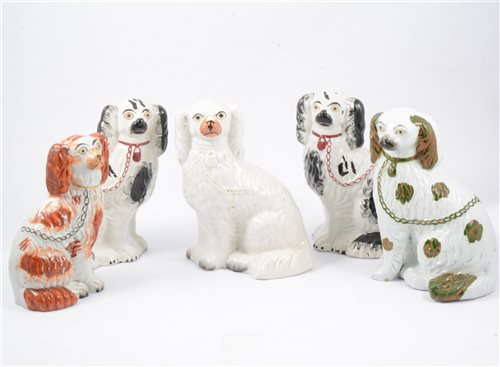 Lot 22-Pair of 19th Century King Charles Spaniels with puppies, and three others (5)