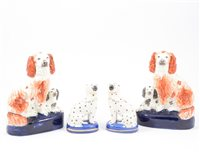 Lot 4-Pair of late 19th Century Staffordshire King Charles Spaniels, and a similar pair (4)
