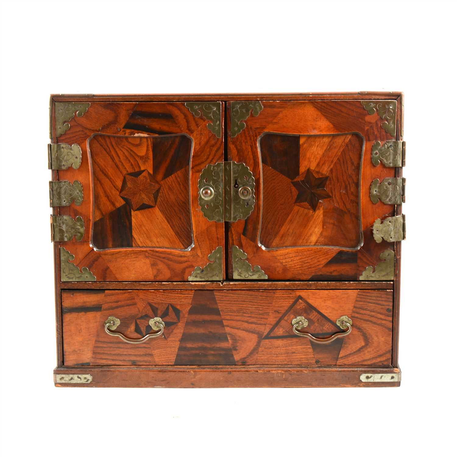 Lot 122-Japanese parquetry table cabinet