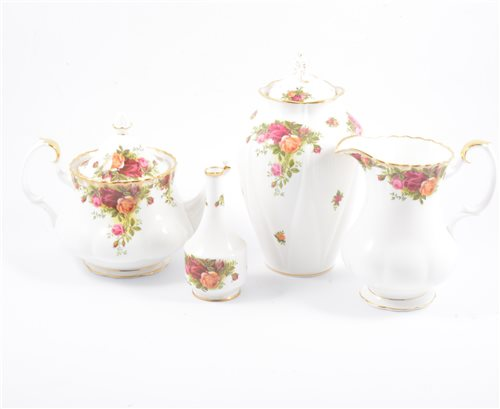 Lot 41-Royal Albert Old Country Roses part tea service, vases, bowls, etc.