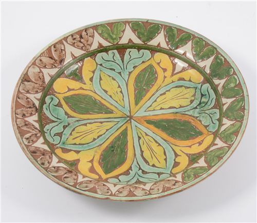 Lot 4-A Della Robbia of Birkenhead plate, incised and painted decoration, 19cm, (chipped).