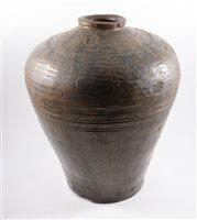 Lot 78-Large Chinese(?) jar, brown glaze, 48cm.