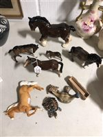 Lot 91-Six Beswick and Melba ware horses, a Wade Beneagles decanter and Wade tortoise and trough. (11)