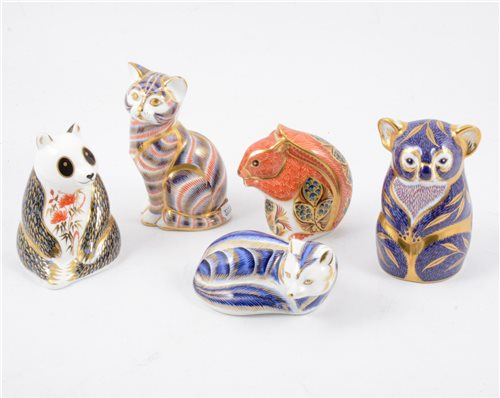 Lot 86-Six royal Crown Derby paperweights with gold stoppers, cats, squirrel, panda, owl, (6)