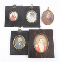 Lot 102-English School, 19th Century, miniature portrait of a military officer