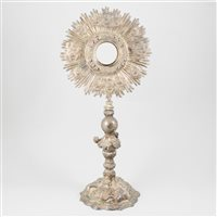 Lot 19-Continental white metal monstrance possibly Austro-Hungarian, 19th century.
