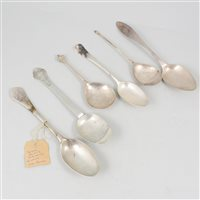 Lot 51-German silver tablespoon, ascribed to Johann Heinrich Freiderich, Elbing; and five others.