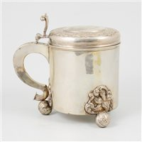 Lot 13-Scandinavian silver tankard, marked HN conjoined, mid 18th century.