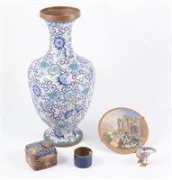 Lot 105-Brass shell case vase, cloisonné vase, box, napkin rings, etc.