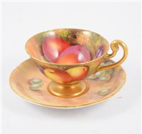 Lot 58-A Royal Worcester cup and saucer, hand painted fruit design signed E Townsend.