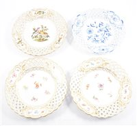 Lot 49-A set of four Meissen plates