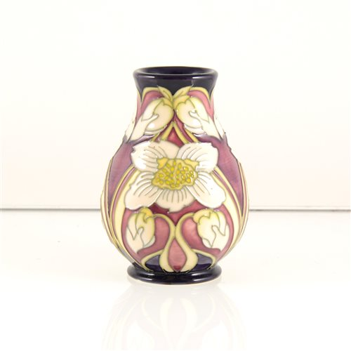 Lot 16-A Moorcroft Pottery vase, 'White Christmas Rose' design by Kerry Goodwin