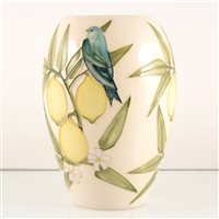 Lot 542-A Moorcroft Pottery vase, 'Finches and Lemons' designed by Sally Tuffin.
